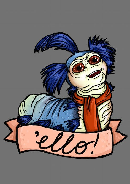 Illustrated Ello Blue Worm Labyrinth A4 Art Print by HungryDesigns