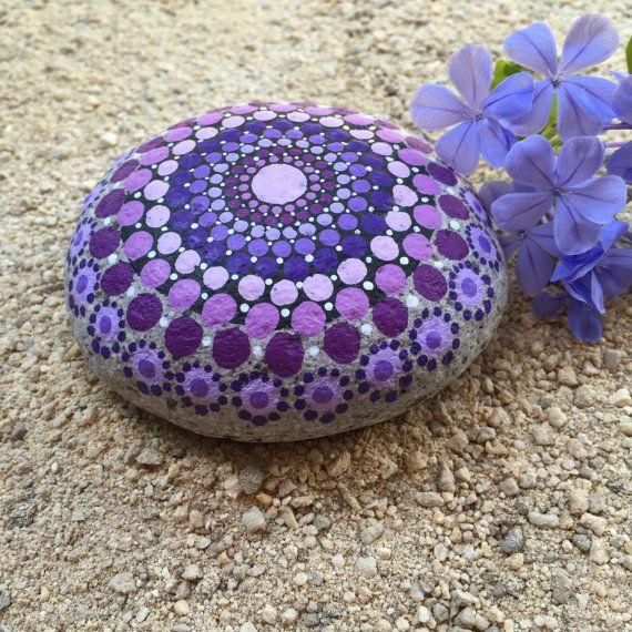 Shades of Purple Dot Painted Stone, Original Hand Painted Rock Art, Mandala Design, Mandala Stone