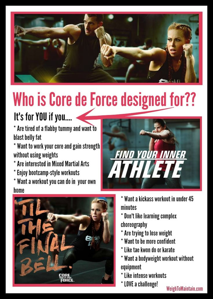 Who is Beachbody's new Core de Force program designed for?  YOU.... but only if you:  *want to work your core *like intense workouts *want to lose weight *are interested in MMA *want an effective workout without equipment *don't have more than 45 minutes a day for exercise...  Check out the FAQ's at WeighToMaintain.com