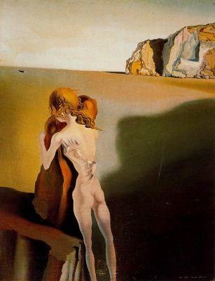 La ilusión diurna: La sombra del gran piano acercandose (1931) Salvador Dalí - Óleo sobre lienzo.