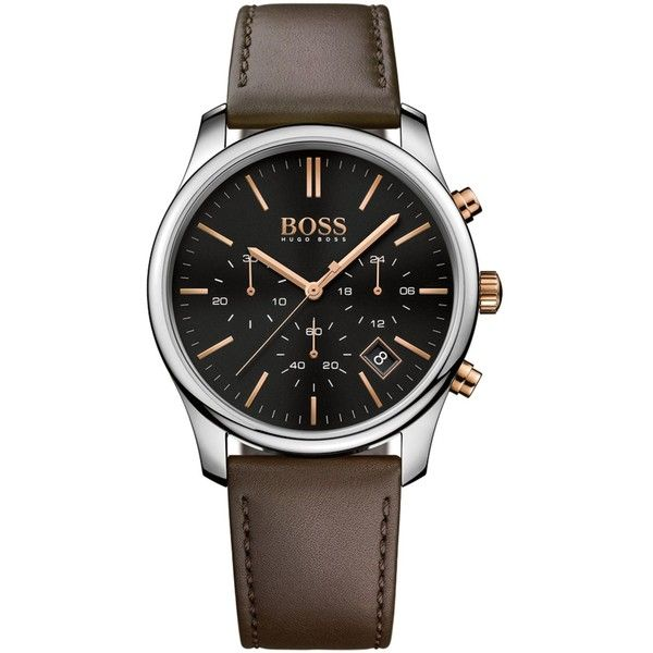 Boss Hugo Boss Men's Chronograph Time One Brown Leather Strap Watch... (€180) ❤ liked on Polyvore featuring men's fashion, men's jewelry, men's watches, brown, mens chronograph watch, mens watches, mens leather watches, mens watches jewelry and mens brown leather watches