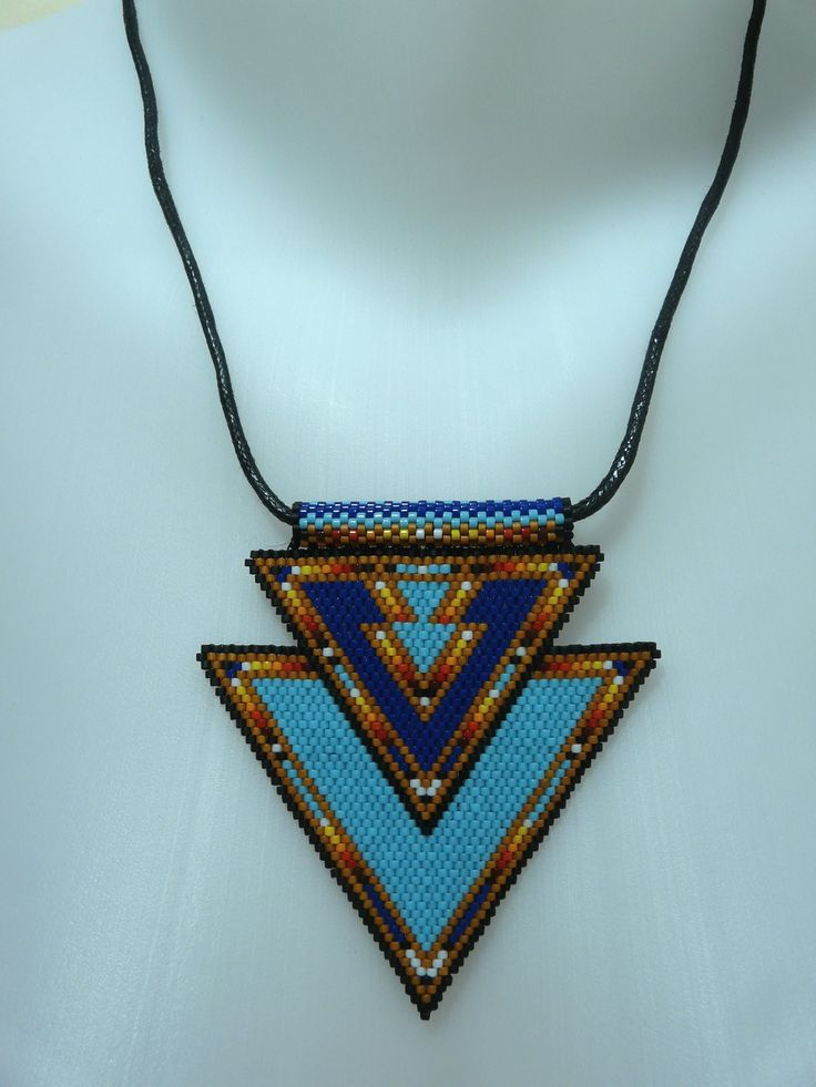 "Collier en tissage Brick Stitch style ""Amérindien"""
