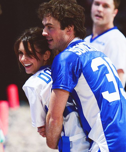 2013 Celeb Beach Bowl; Ian Somerhalder and Nina Dobrev