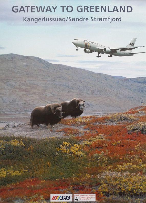 1990s Greenland SAS Travel Poster  Original by OutofCopenhagen