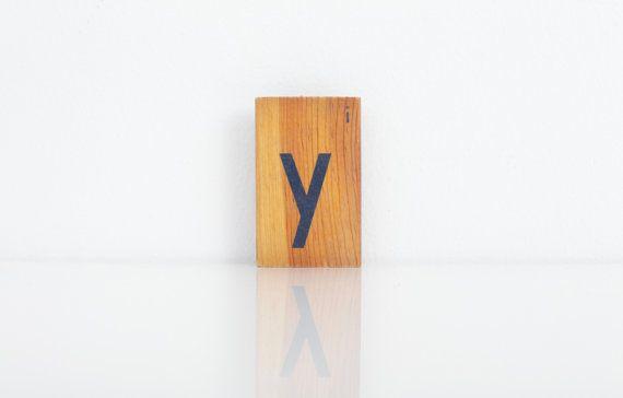Vintage alfabet blok / Vintage houten Letters Y of ik / Sign Marquee / Crafts / Art / Childrens blokkeren