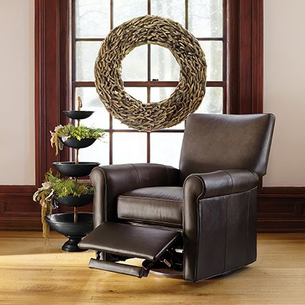 "Duvall 35"" Leather Swivel Recliner in Lear Chocolate"