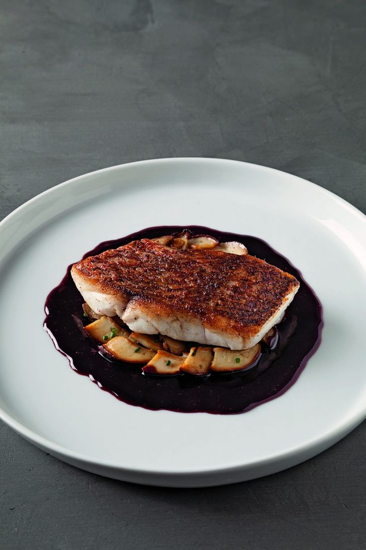 Red snapper and cepes in port reduction: https://www.allmychefs.com/recipes/red-snapper-and-cepes-in-port-reduction_983_2
