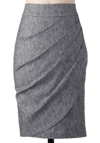 Moonlighting Skirt. Asymmetrical is the new black, and this demure skirt will help get you the on-trend look. #modcloth