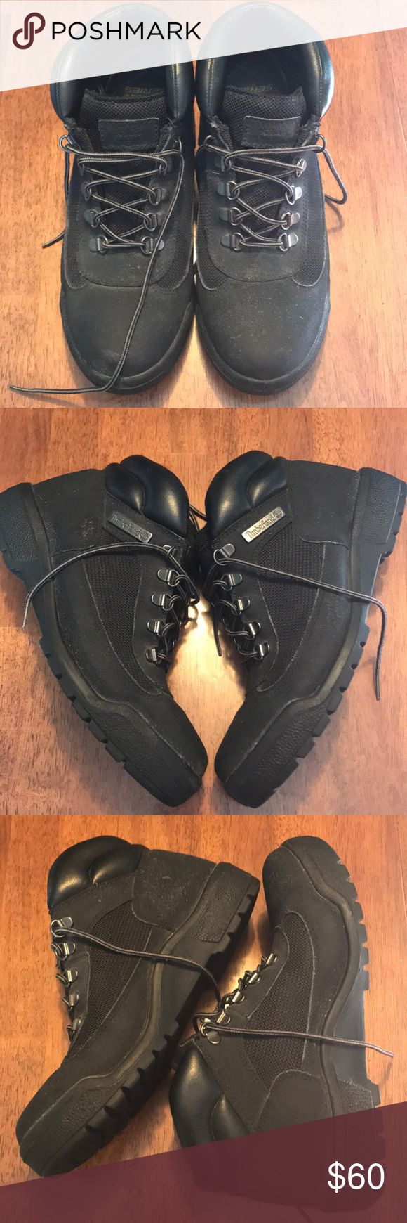 Men's Timberland Field Boots Men's Timberland field boots. Size 8 in men. Size 9.5 in women. Great condition. Shoes are dusty due to sitting around, wasn't sure how to clean them due to the material. Comment with questions. Open to offers. Timberland Shoes Boots