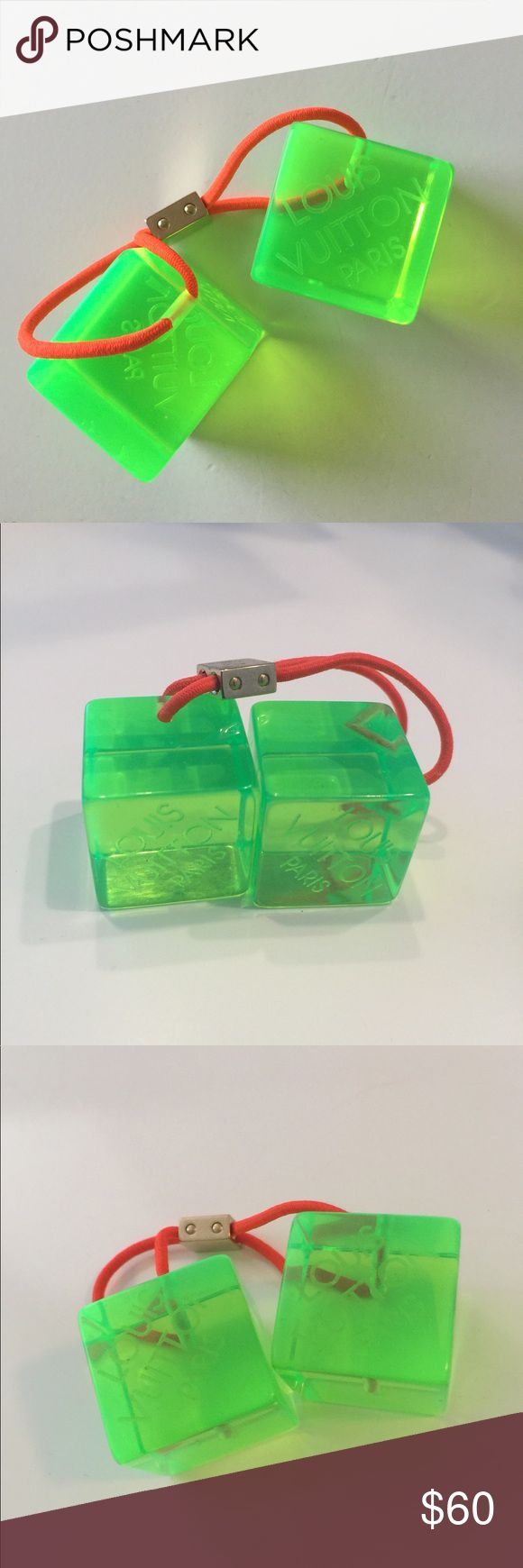 Louis Vuitton hair cubes 100% Authentic, lime green cube pony tail ties (the band itself is bright orange). Got them in a swag bag at an LV event years ago but could never figure out how to wear them/my hair wasn't long enough. Louis Vuitton Accessories Hair Accessories