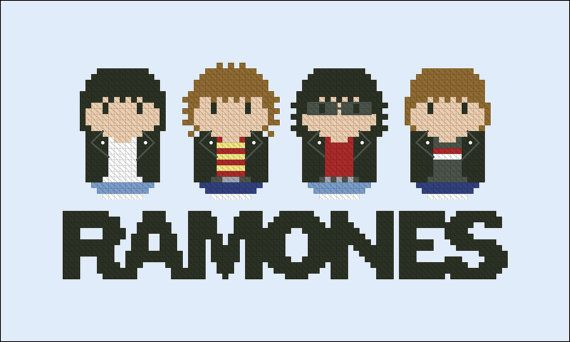 Ramones rock band parody Cross stitch PDF por cloudsfactory