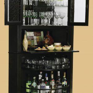 black corner liquor cabinet