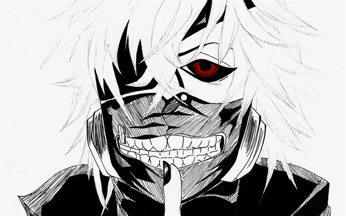Download wallpapers Kaneki Ken, art, manga, Tokyo Ghoul, anime characters