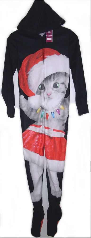 Justice Christmas Kitty Cat Kitten Hood Footie Pajamas PJs One Piece Girls 8 New #Justice #HoodedFootie