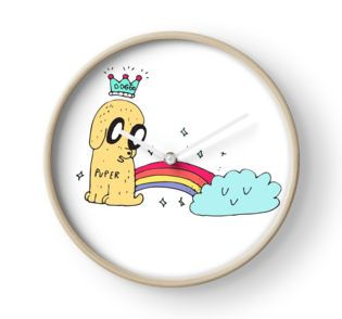 Doggo Rainbow Illustrated Clock | Designed by Kara Le | Illustration | Cute Drawing | Dogs, Puppy