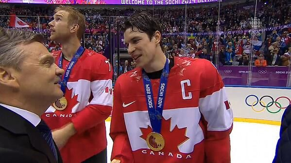 Canadian men's hockey team Captain Sidney Crosby gets his gold medal