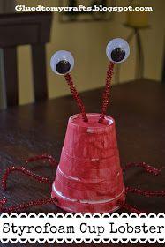 Glued to my Crafts: Styrofoam Cup Lobster {Craft}