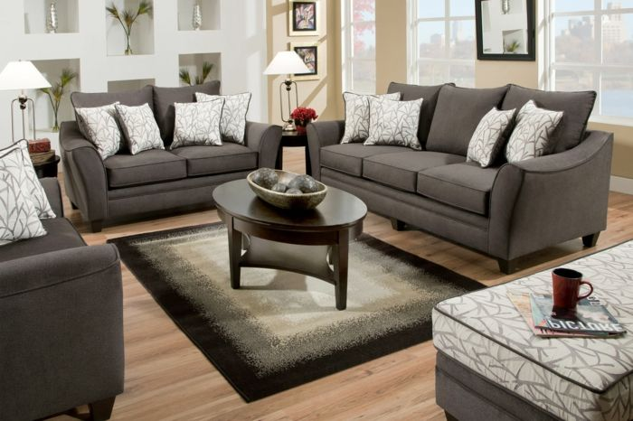 Couchtisch oval im wohnzimmer graue gestaltung