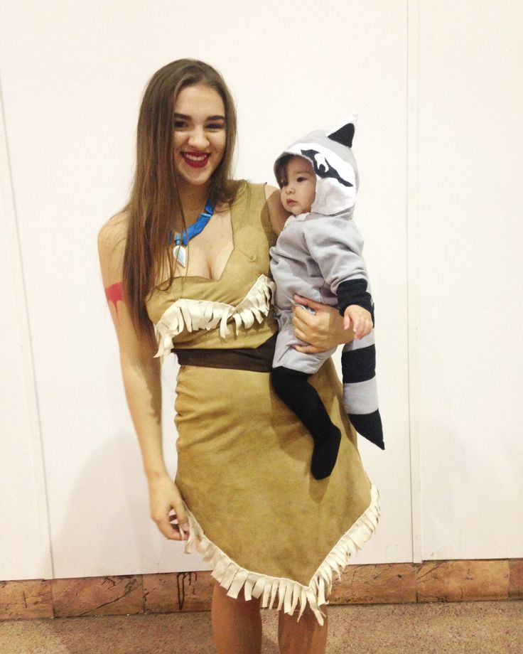 Baby and me Pocahontas and Meeko Costumes for Emilia's first Halloween