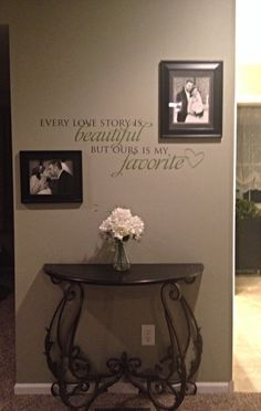 Master bedroom wall decor. Wording is from Uppercase Living. Table from Hobby Lobby. So cute!