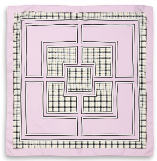 Scottish Pink Square Scarf. (70cm x 70cm). Luxury high quality made in Italy by Fulards free shipping.