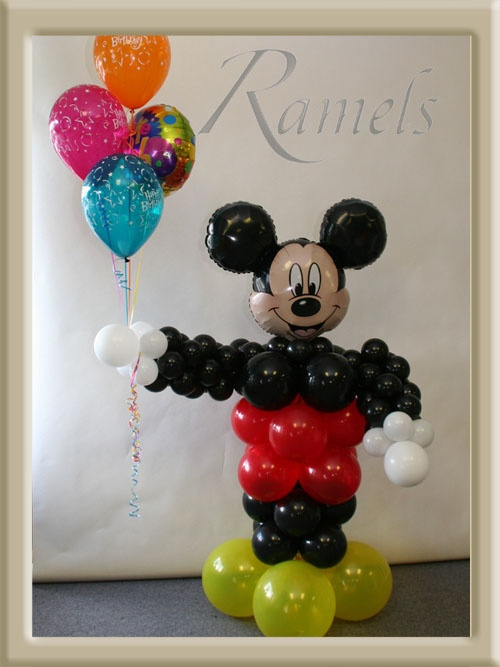Mickey Mouse Balloon Sculpture: Character Columns, Balloon Decorations Party, Decor Ideas, Theresa Burgers, Balloon Sculpture Gable, Parties Ideas, Mickey Mouse Balloons, Balloon Sculpture Nev, Balloon Decor Parties