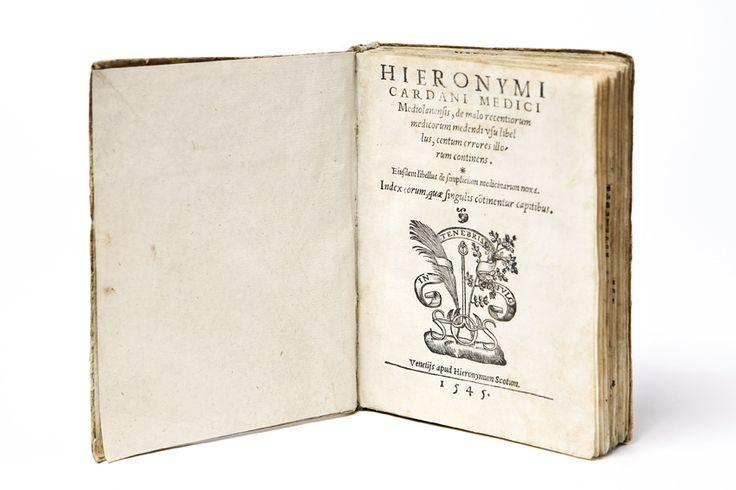 CARDANI HIERONYMI MEDICI, Mediolanensis de malo recentiorum… VENETIIS · HIERONYMUM SCOTUM · 1545  Rare books - Libreria Antiquaria Borromini al Pantheon