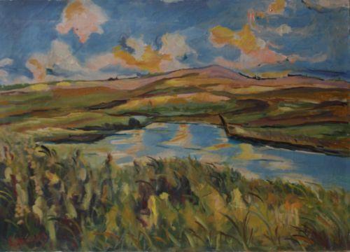 Vintage-Oil-Painting-On-Canvas-034-Greek-Landscape-034-Costas-Laskaris-Signed