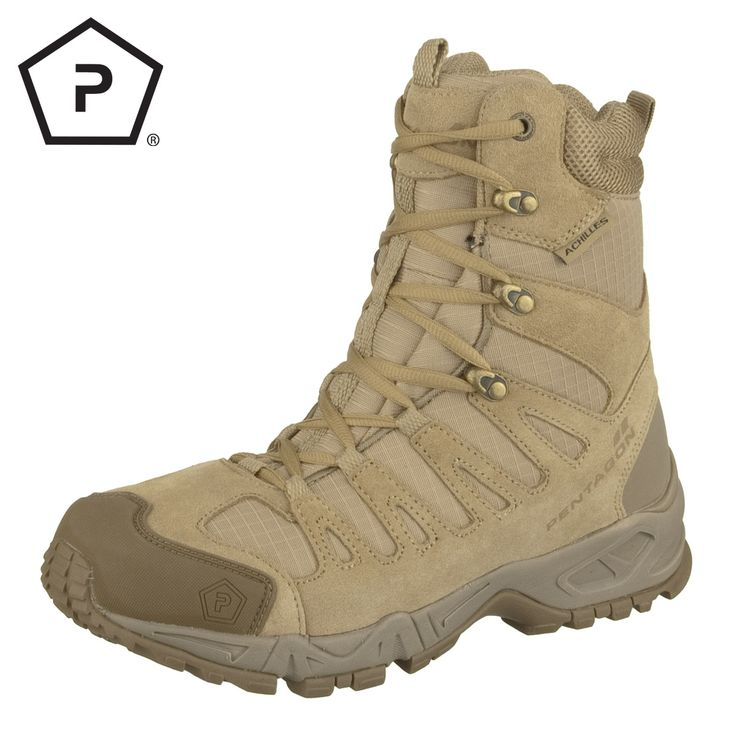 "Unlike their namesake, Pentagon Achilles 8"" Trekking Boots have no weak points. Durable and lightweight, they feature strong Suede and 1200D Nylon upper, breathable Coolmax lining, water-resistant Dintex membrane, EVA midsole and rubber outer sole, removable Ortholite insole and rubberized and strengthen toe cap and heel. Only £106.50! Find out more at Military 1st online store. Free UK delivery and returns! Competitive overseas shipping rates."