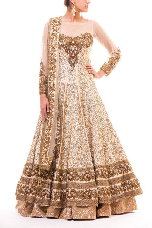 Bridal floor-length anarkali. Indian fashion.