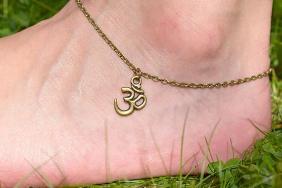 Bronze OM Anklet  Ohm Charm Anklet  Foot Jewelry  Yoga