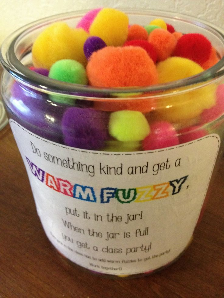 "Warm Fuzzy Jar! When students are caught being kind they get a ""warm fuzzy"" to put in the jar.  When the jar is full have a class party! :) (scheduled via http://www.tailwindapp.com?utm_source=pinterest&utm_medium=twpin&utm_content=post992449&utm_campaign=scheduler_attribution)"