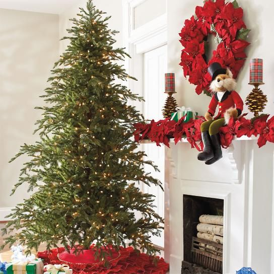Our Majestic Fraser Fir Tree looks fresh from the forest for seasons to come. The reason is the striking range of deep greens infused into delicate Fraser tips that even nature would be hard-pressed to duplicate. Pre-decorated with brilliant commercial-quality bulbs. Hinged construction eliminates the need for hanging branches or wrapping lights. Just plug it in, shape and let the decorating begin. Pre-lit, natural-looking Christmas tree with a full profile Dense, richly textured branches…