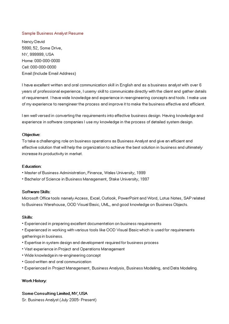 Business Analyst Resume Sample How to create a Business