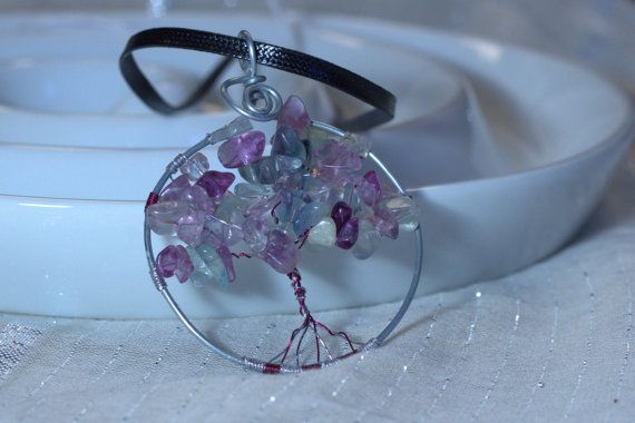 Tree of Life Pendant Purple Glass Leaves by BeyondtheWire on Etsy, $23.61