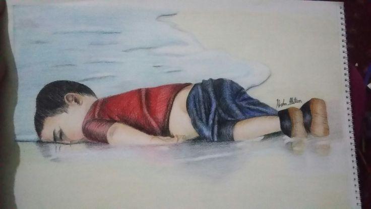 رسمي بالوان الخشب ل الطفل السوري الغريق(رحمه الله)