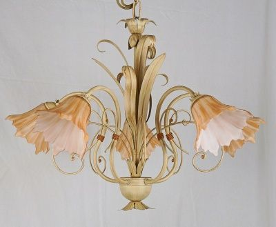 CHANDELIER WITH CRYSTAL IRON COLOR IVORY MADE IN ITALY art.574