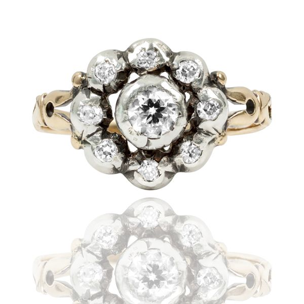 Early Victorian Diamond Daisy Ring Set In Silver & 18 Carat gold From Sweden