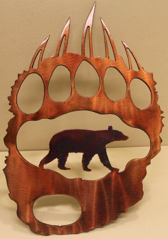 Bear Track with Bear Metal Wall Art Home Decor