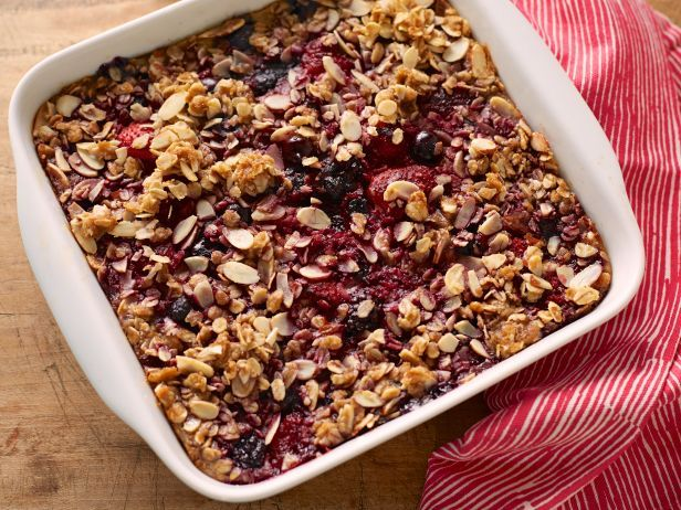 This breakfast bake is easy on the calories and fat and as pretty as a picture. With its berries and oat-almond topping, it's almost like a tart, sweet fruit cobbler-great with a little Greek yogurt or milk on top.