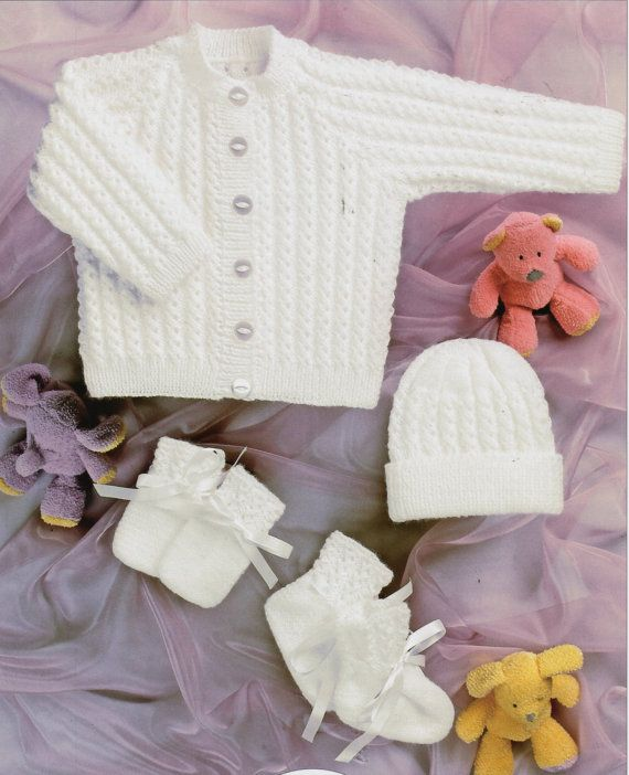 B8224 Baby KNITTING PATTERN pdf baby cardigan knitting pattern hat bootees mitts baby set premature newborn 12-22 inch 4ply pdf instant download Please refer to the pictures above for information from pattern on sizes, materials used, needle size etc. Click on the white arrow half way up the picture on the right side. Where a discontinued yarn is used, I check the needle size for a modern equivalent and include in the description. This is meant as a guide only. Please check your tension. I…