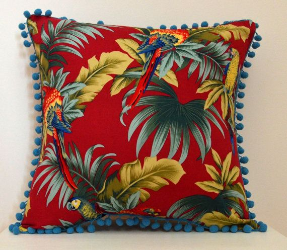 """ACL """"Tropical Parrots"""" Cushion Cover"""