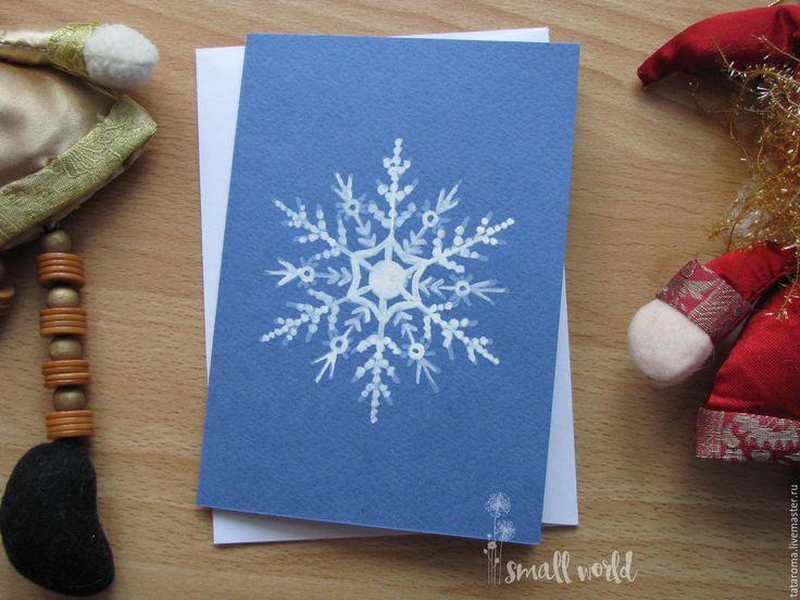 Купить Авторская открытка Снежинка S6 - синий, поздравительная открытка, авторская ручная работа