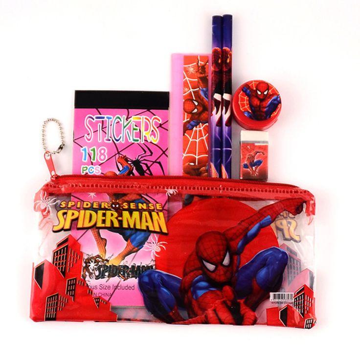 1 set pencil case for children spiderman sticker school supplies cute pencil case school stationery
