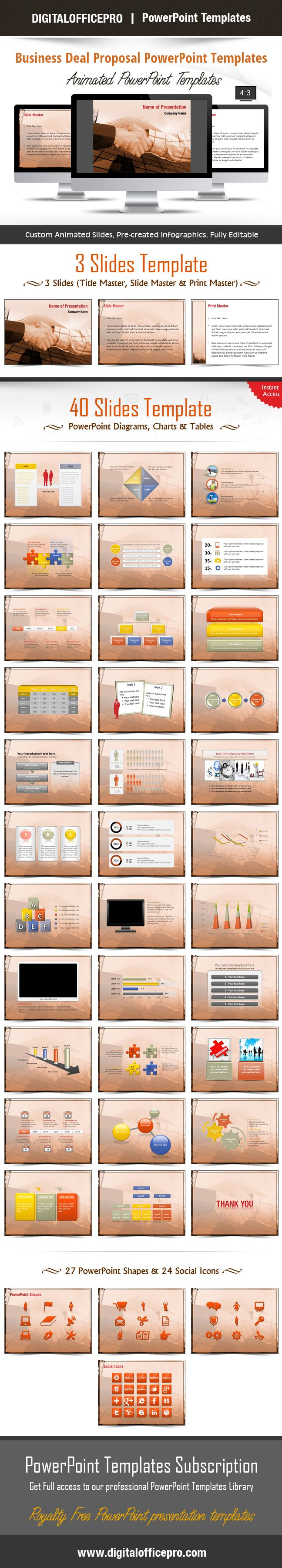 Impress and Engage your audience with Business Deal Proposal PowerPoint Template and Business Deal Proposal PowerPoint Backgrounds from DigitalOfficePro. Each template comes with a set of PowerPoint Diagrams, Charts & Shapes and are available for instant download.