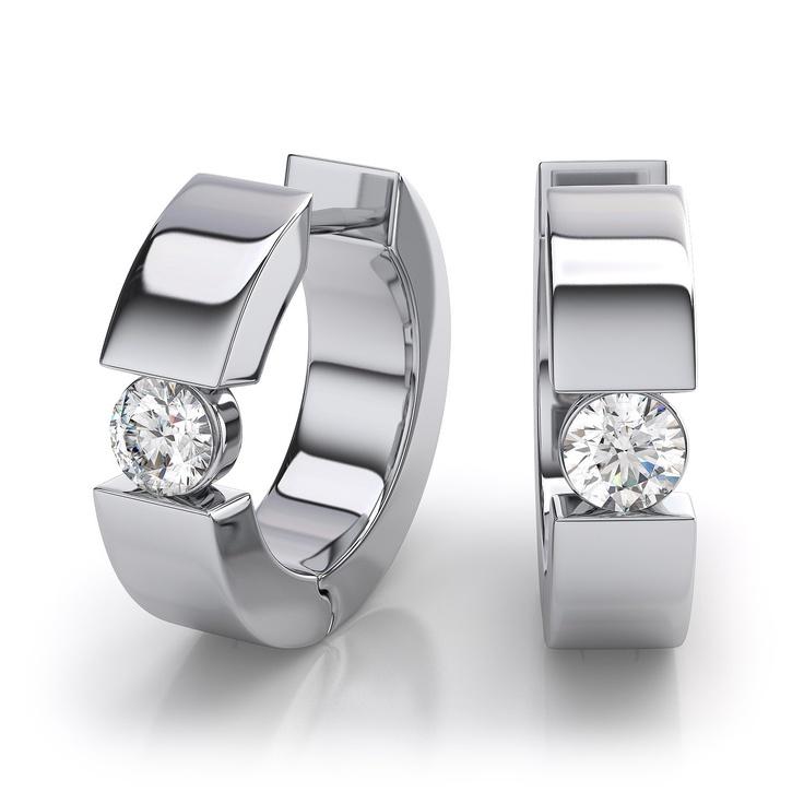 Huggie Diamond Earrings in 14k White Gold.