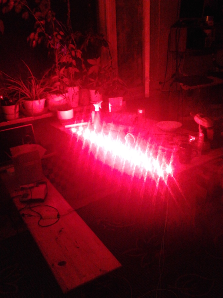 Some 660nm RED.   I have made few pcs. of this kind of lights with slightly different specs and I can't tell for sure which one this was. Probably 22x1W.