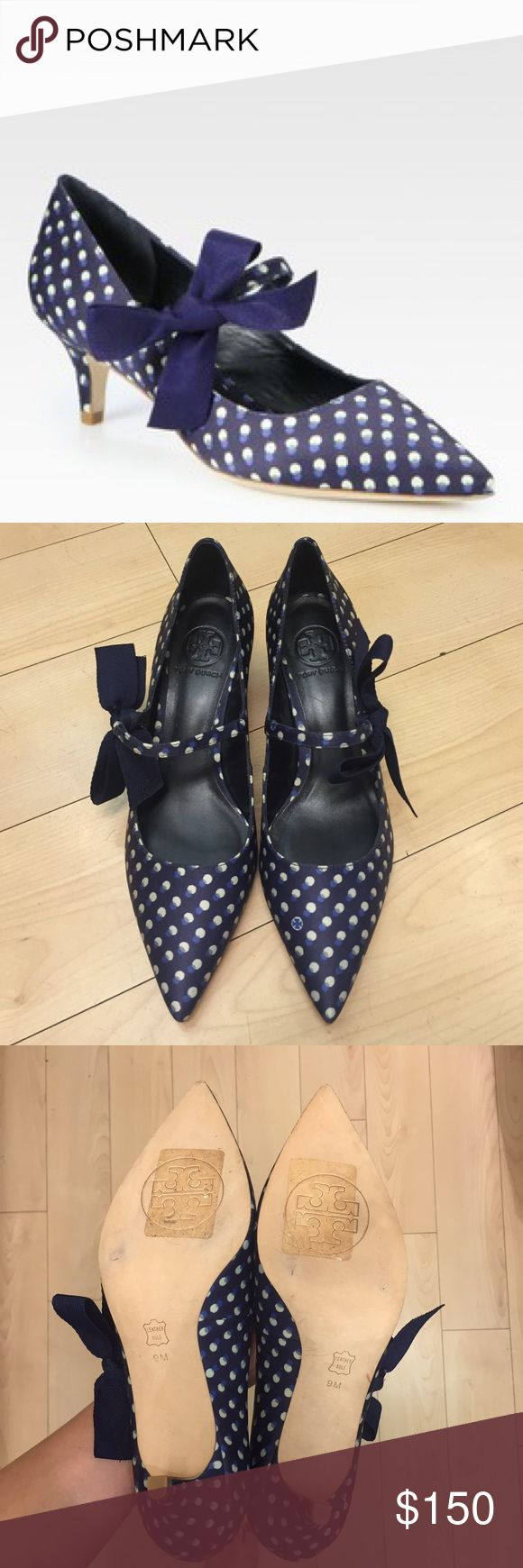 NWOT Tory Burch Beverly Polka Dotted Heels Polka dot satin in a point toe silhouette with an oversized canvas bow and a slight heel. Leather lining and sole. Padded insole. SOLD OUT everywhere online. Brand new in pristine condition. Open to reasonable offers! Tory Burch Shoes Heels