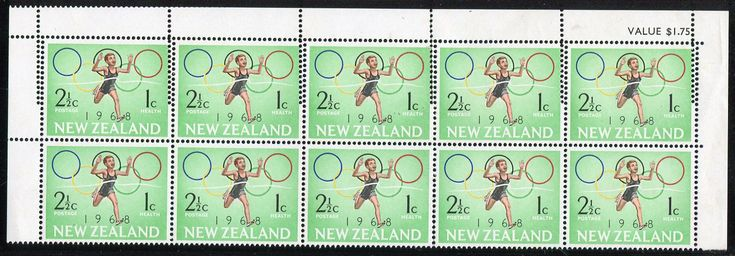 NZ Error Health 1968 2 1/2c Olympic Runner top 2 rows with double perfs, value blk, very faint gum discolour, note perfs top right, major double Comb Head, unlisted in CP, ex Parkinson #Stamps #Errors #MADonC