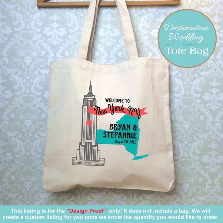 New York Destination Wedding Bag, Empire State Building Wedding Bag, Wedding Favor, Destination Wedding Gift, Customized Wedding Gift by Markeza on Etsy https://www.etsy.com/listing/240774312/new-york-destination-wedding-bag-empire
